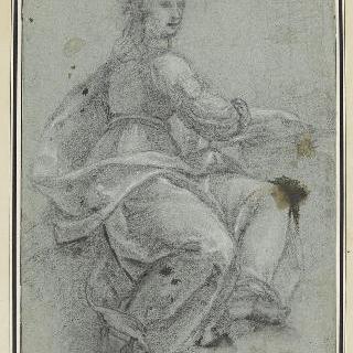 우측 방향으로 몸을 돌려 앉아있는 주름진 천을 두른 여인