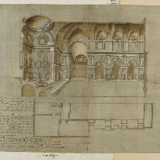 피렌체의 산 미켈레 드글리 안티노리의 도면과 절단면
