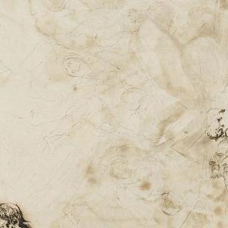 남자들의 측면 두상, 나체의 여인의 좌측 부분