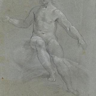 구름 위에 앉아있는 벌거벗은 남자의 정면상