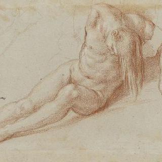 머리를 숙이고 있는 누드의 남자와 머리를 받치고 있는 초벌 그림의 인물