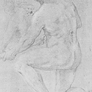반쯤 무릎을 꿇고 있는 등이 보이는 나체 남자, 두 손으로 물건을 들고 있다