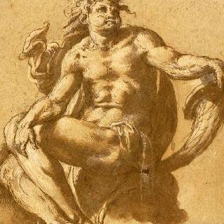풍요의 뿔을 들고 있는 앉아있는 남자 습작