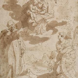 성녀 카트리나와 성 베르나딘과 함께 있는 아기 예수를 안고 있는 성모