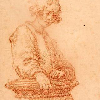 바구니를 들고 있는 젊은 남자 상체