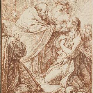 사제에게 영성체를 받는 막달라 마리아