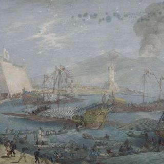1636년경의 나폴리 항구의 전경와 분출하는 베수비오 화산의 전경