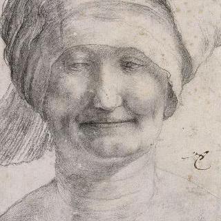 챙이 없는 모자를 쓴 미소 띤 여인의 초상