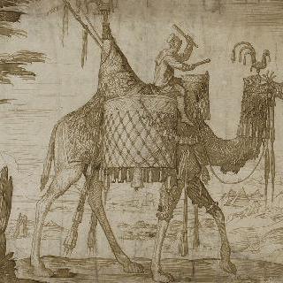 1557년 팀파니 연주자를 태운 단봉낙타. 터키 황제의 보물을 실은 낙타