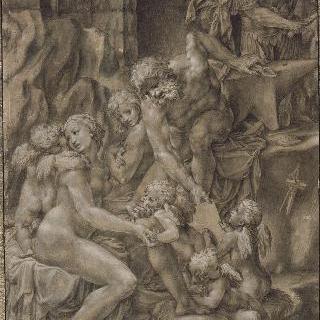 불카누스의 대장간의 비너스와 에로스, 무기를 가져오는 마르스