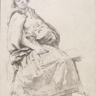 앉아 있는 시골 여자