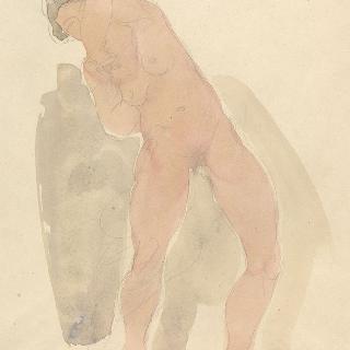 왼쪽 팔이 위로 올라간 서 있는 벌거벗은 여인 습작