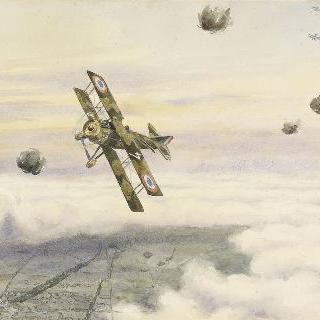 독일 전선을 날으는 프랑스 비행기