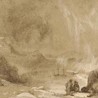 바위 부근에 앉아있는 인물