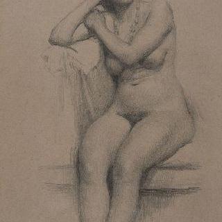 앉아있는 나체의 여인