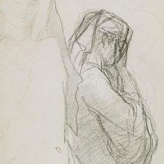 손을 이마 위에 올린 여인의 오른쪽 옆모습 반신상
