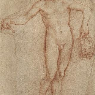 탬버린을 든 서 있는 나체의 남자의 정면 모습