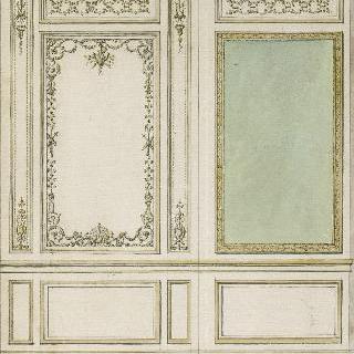 베르사유궁의 마리 앙투아네트 왕비의 남쪽 집무실의 내장재 계획안