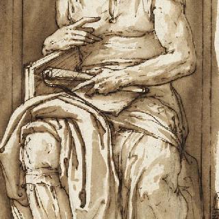 벽감 안에 앉아있는 미켈란젤로의 초상