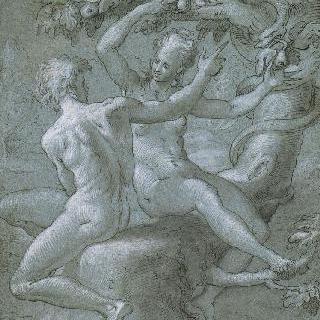 나무 발 밑에 앉아있는 아담과 이브