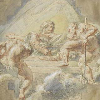 쌍어궁 아래의 제우스 앞의 플루톤과 포세이돈