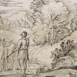 소치는 목동과 세 마리 소가 있는 풍경
