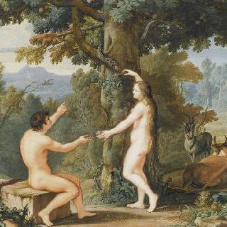 아담에게 금기된 과일을 주는 이브