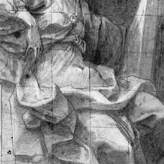 정면에서 본 긴 휘장 옷을 둘러 입은 앉아 있는 여자 형상 (무녀 )