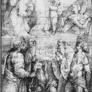 악마를 무찌르는 아기 예수를 안고 있는 성모와 여러 성인들