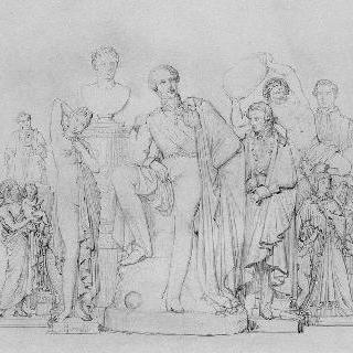 1845년 한림원의 아틀리에에서의 프라디에르 작품 전시회
