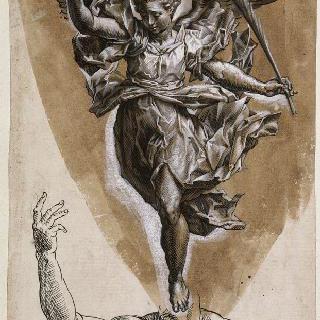 종려나무 잎과 화관을 든 천사, 토르소와 팔 습작