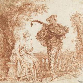테라스 위의 여인과 기타 연주자