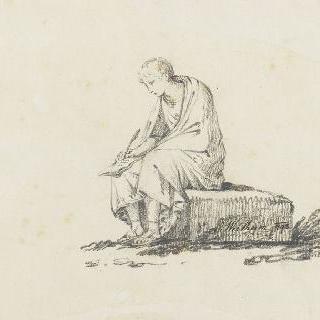 바위 위에 앉아 글쓰는 고대 복장의 남자