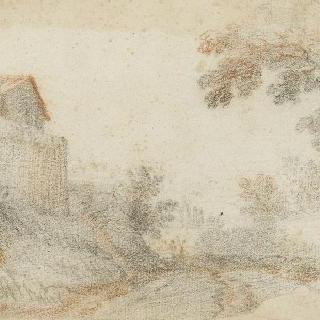 왼쪽의 집과 벽이 있는 풍경