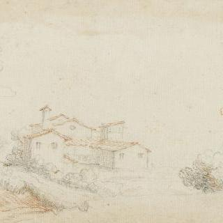 강가의 가옥들이 있는 풍경