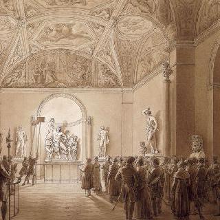 황제와 황녀의 횃불 방문 ; 루브르의 라오콘관