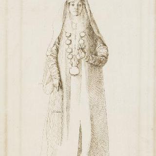 동양풍의 주름진 옷을 입은 여인의 정면