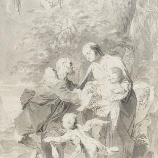 이집트로 도주 ; 요셉은 동정녀의 팔에서 아이를 받는다