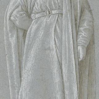 주름진 옷을 입고 오른손을 등 뒤에 놓은 서 있는 남자