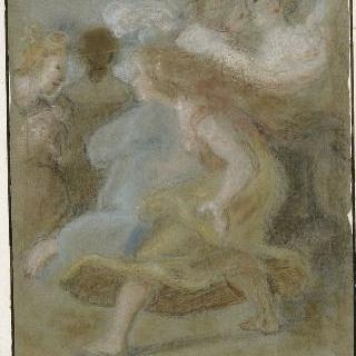 이동하는 다른 여인들 사이에서 포옹하는 두 젊은 여인들