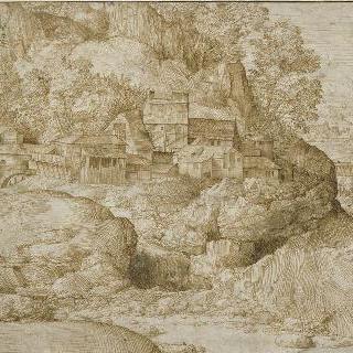 바위와 건축물이 있는 풍경