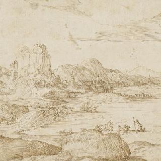 강가의 도시가 있는 산의 풍경