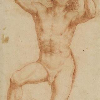 팔과 눈을 하늘을 향해 있는 무릎 꿇은 남자의 나체화