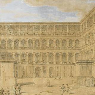라파엘의 로지아가 있는 바티칸 안뜰의 전경