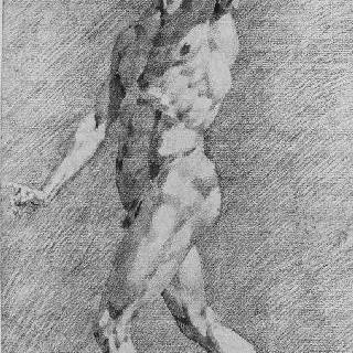 왼쪽을 향한 왼팔을 든 서 있는 남자의 나체