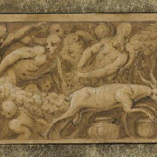 꽃줄 장식, 동물, 사람들 형상으로 구성된 장식띠