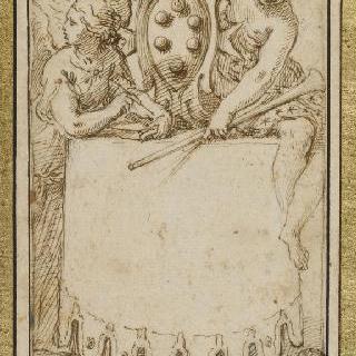 두 명의 우의적 여인들에게 둘러싸인 메디치가의 방패