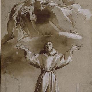 그리스도와 성모의 발 아래에서 기도하는 성 프랑수아