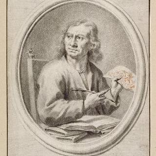 펜과 손으로 그린 데생을 가지고 앉아있는 필립포 발디누치의 초상