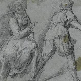 앉아 있는 여자, 등을 보이고 있는 남자, 두상, 형상에 대한 습작들